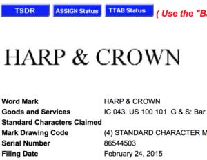 Harp & Crown Trademark Application